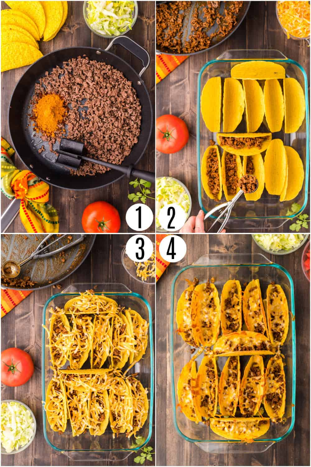 Step by step photos showing how to make baked tacos.
