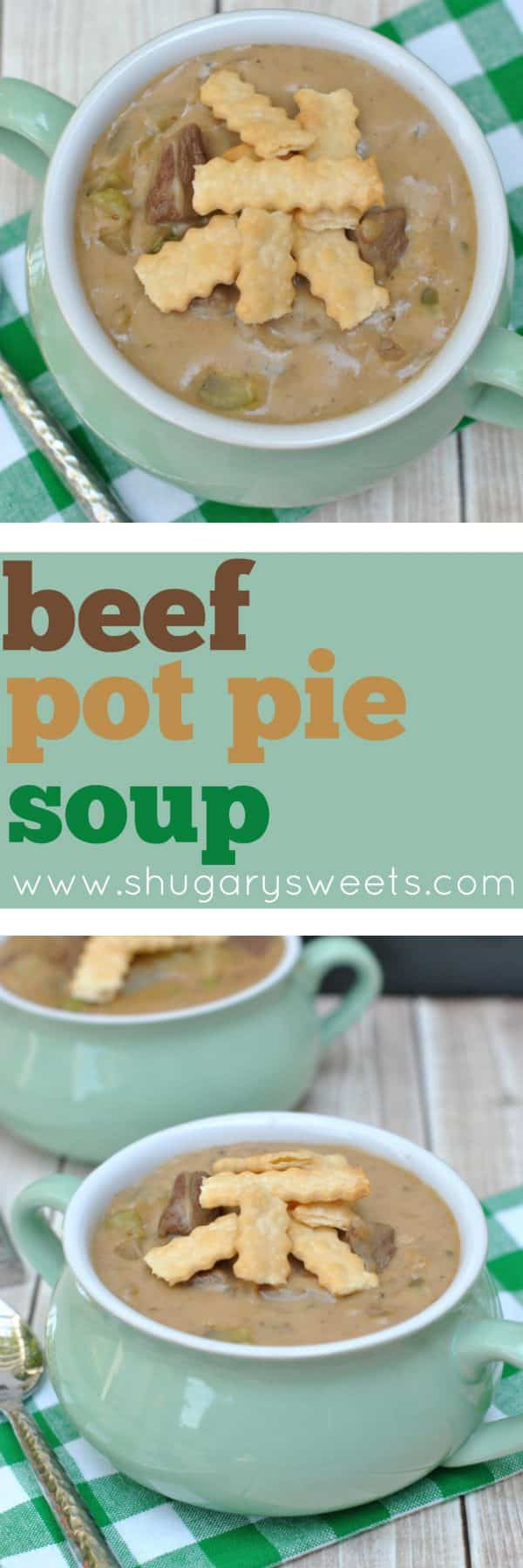 "Looking for something different for dinner, yet still has all the elements of comfort food? Try making some Beef Pot Pie ""Stoup"" with pie crust strips for dinner!! So delicious!"