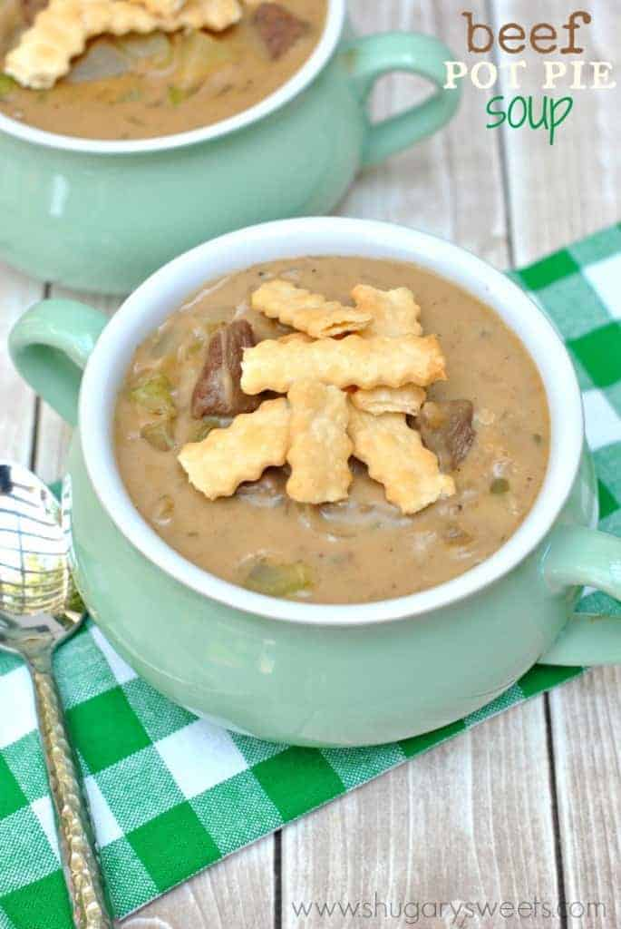 Beef Pot Pie Soup: comfort food in a bowl! Don't forget the pie crust strips on top!