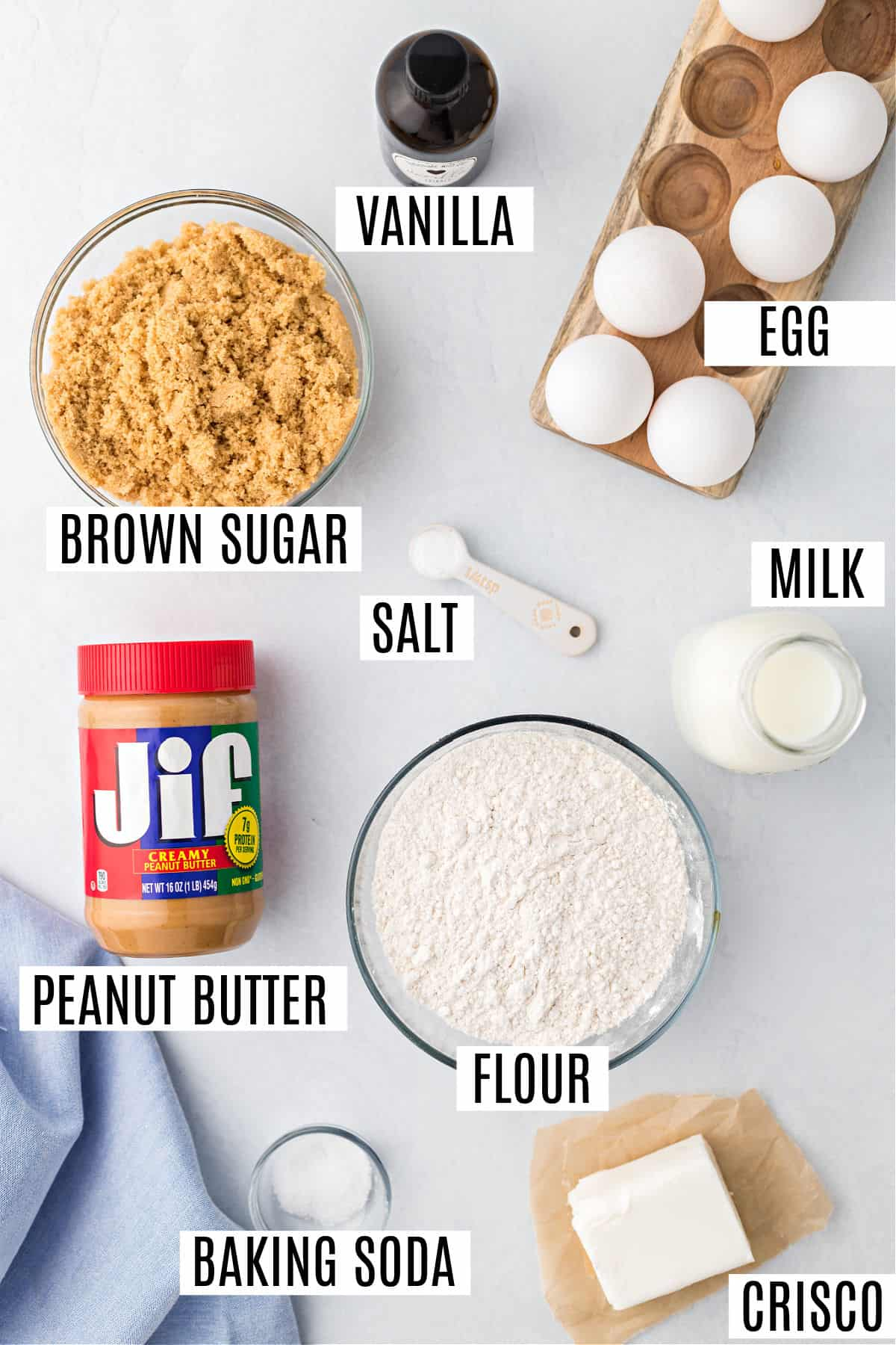 Ingredients needed for Jif Irresistible peanut butter cookie recipe.