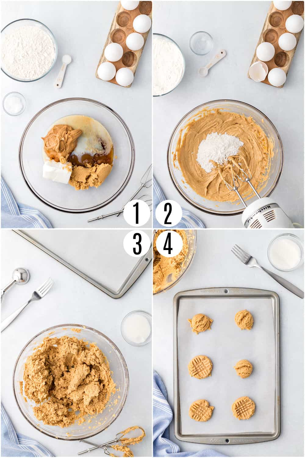 Step by step photos showing how to make Jif peanut butter cookies.
