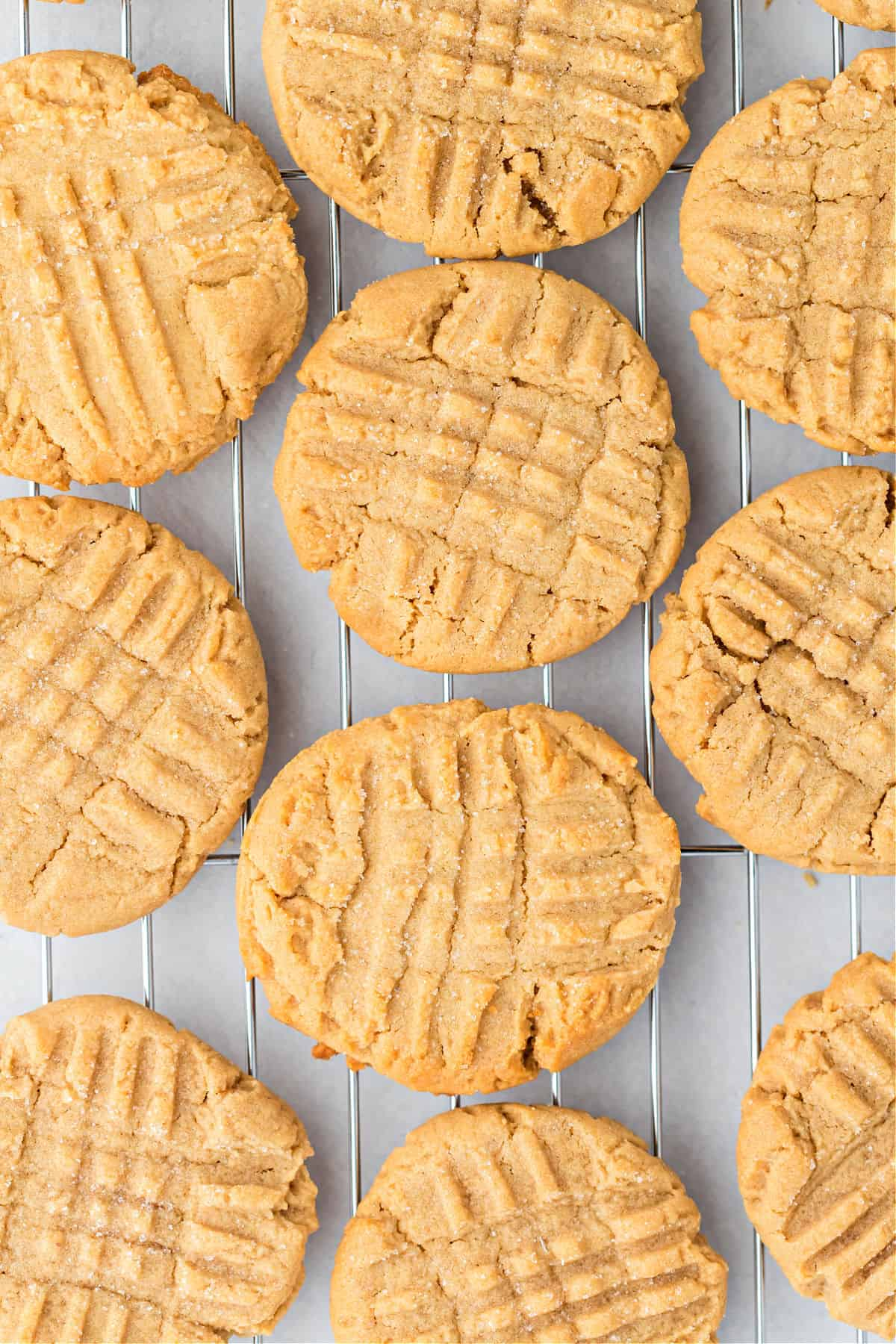 Classic Jif peanut butter cookies with criss cross pattern.