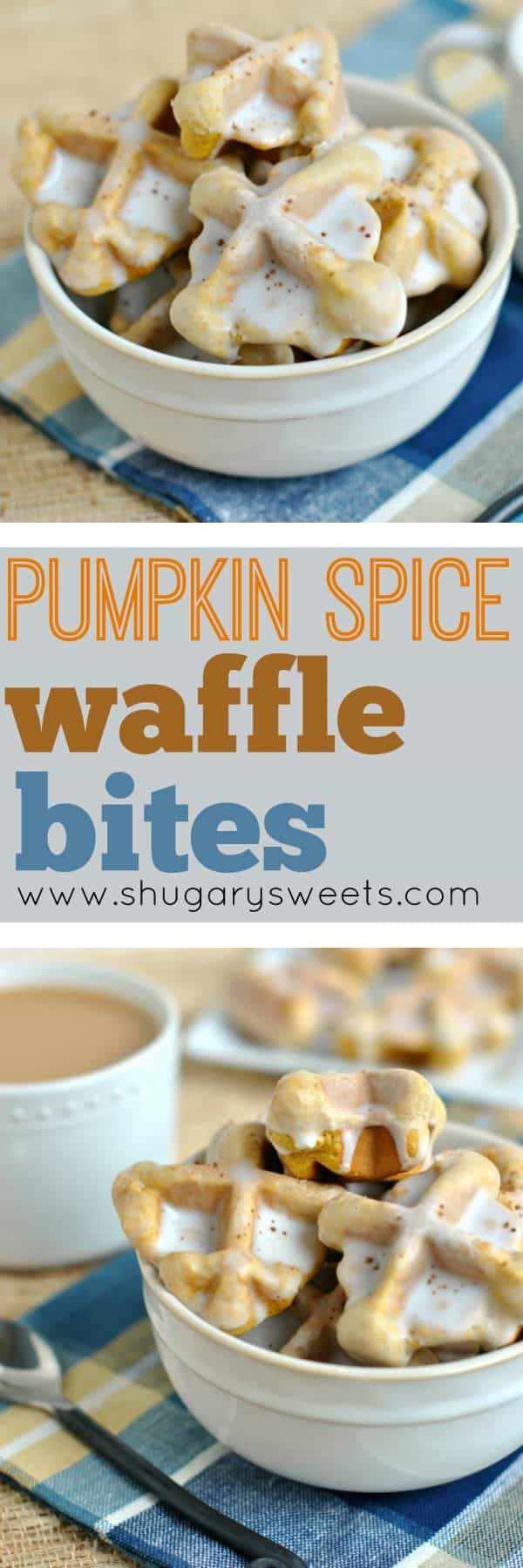These Pumpkin Spice Waffle Bites are delicious, popable and the perfect breakfast idea! Next time your family asks for waffles, serve a big plate of these instead!
