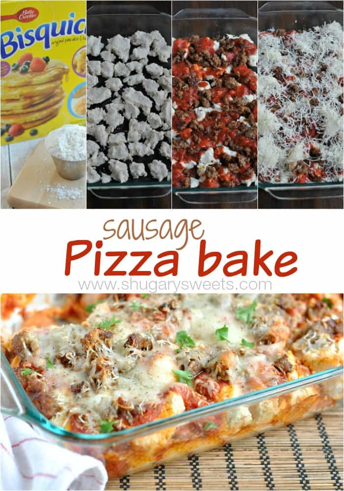 Sausage Pizza Bake: this easy, delicious make ahead meal is perfect for the hectic weeknight dinner schedule! #getyourbettyon