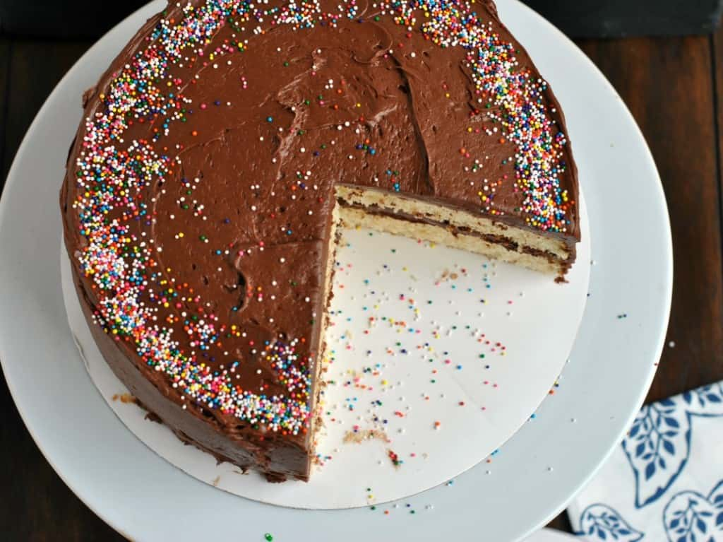 Homemade Yellow Cake with Double fudge frosting: from scratch recipe, moist and delicious!
