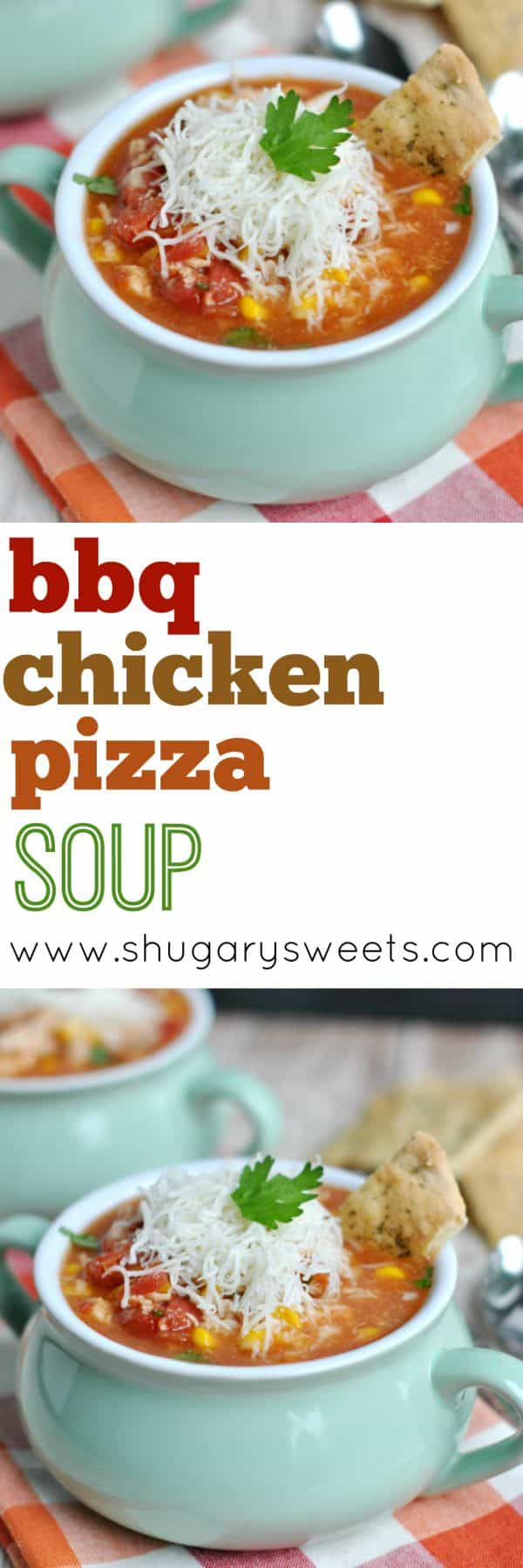 I love dinner recipes that come together in 30 minutes. Say hello to BBQ Chicken Pizza Soup. We made some Pizza Crust dippers to go with this delicious, hearty soup too!