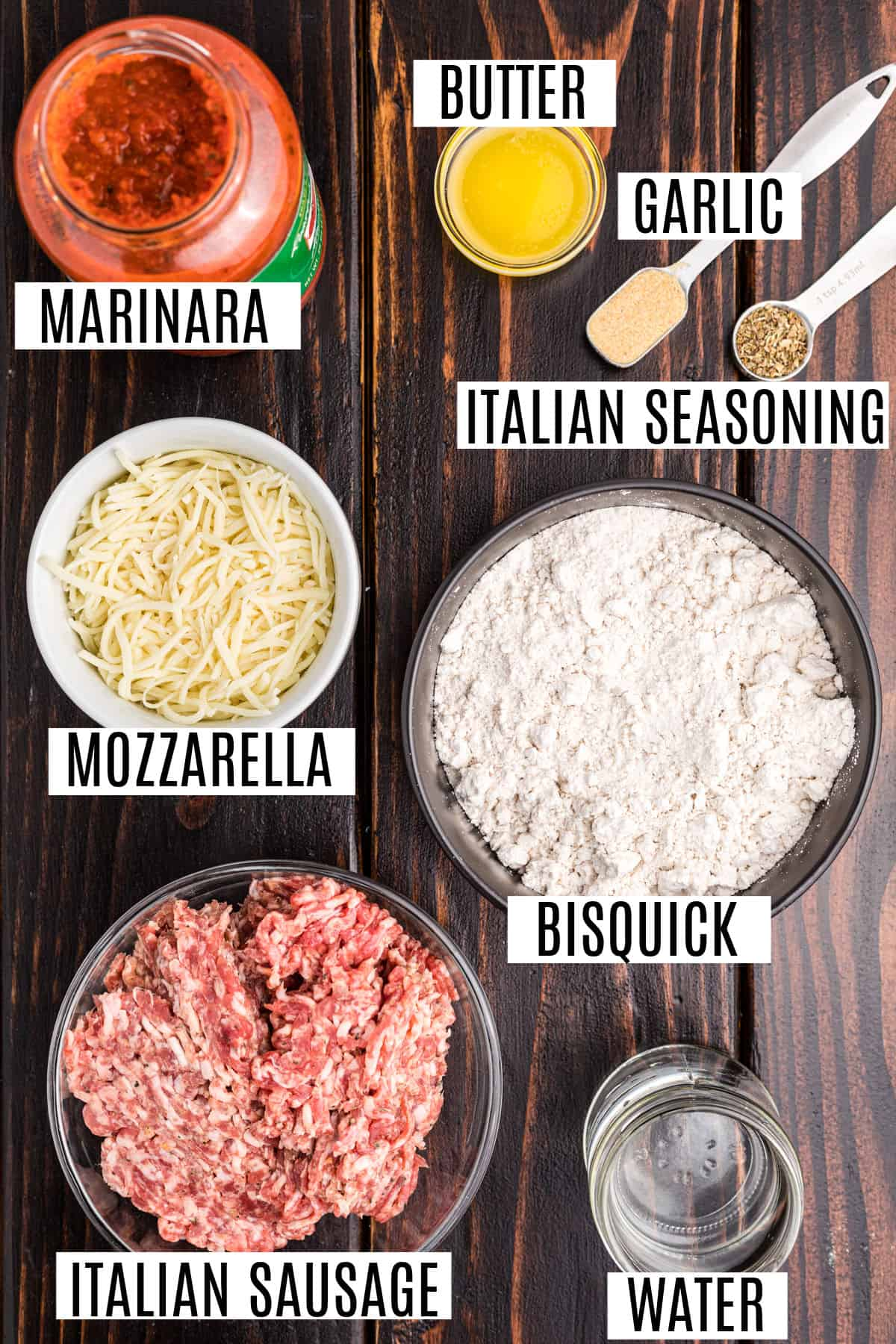 Ingredients needed to make bubble up pizza casserole with meat.