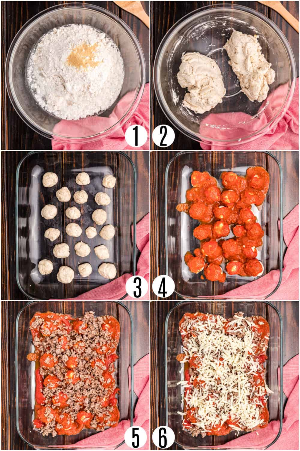 Step by step photos showing how to make bubble up pizza casserole.