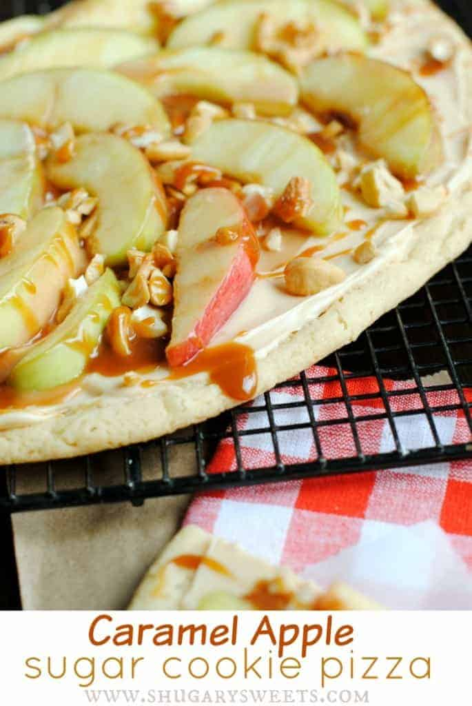 Caramel Apple Sugar Cookie Pizza: and easy delicious dessert recipe!