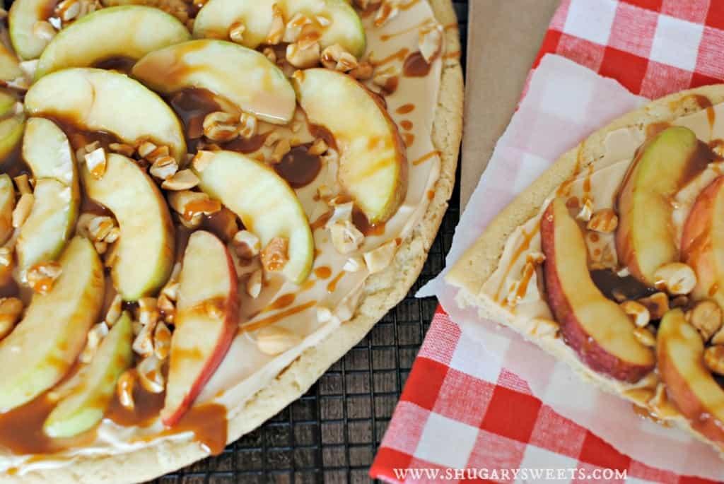 Caramel Apple Sugar Cookie Pizza: and easy delicious dessert recipe!