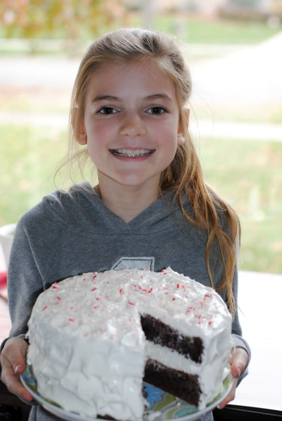 Chocolate Candy Cane Cake: no one will know it started from a box mix! So easy, even a TEN year old can make it!
