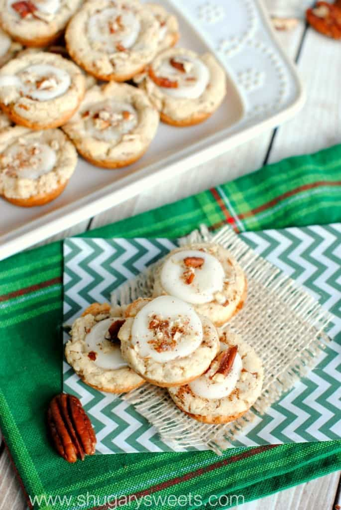 Pecan Egg Nog Cookies are a spin off a traditional pecan sandies cookie. This holiday version is delicious!! #thinkfisher