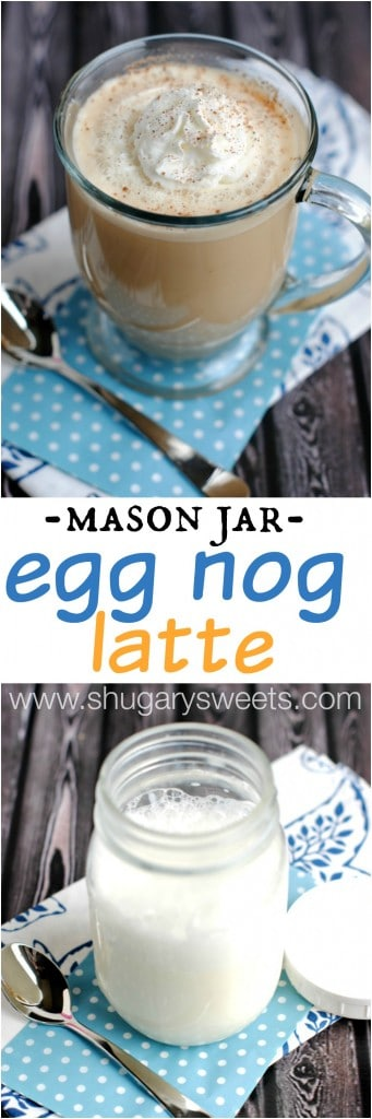 Egg Nog Latte: a delicious, hot and creamy homemade version! No espresso machine needed!!