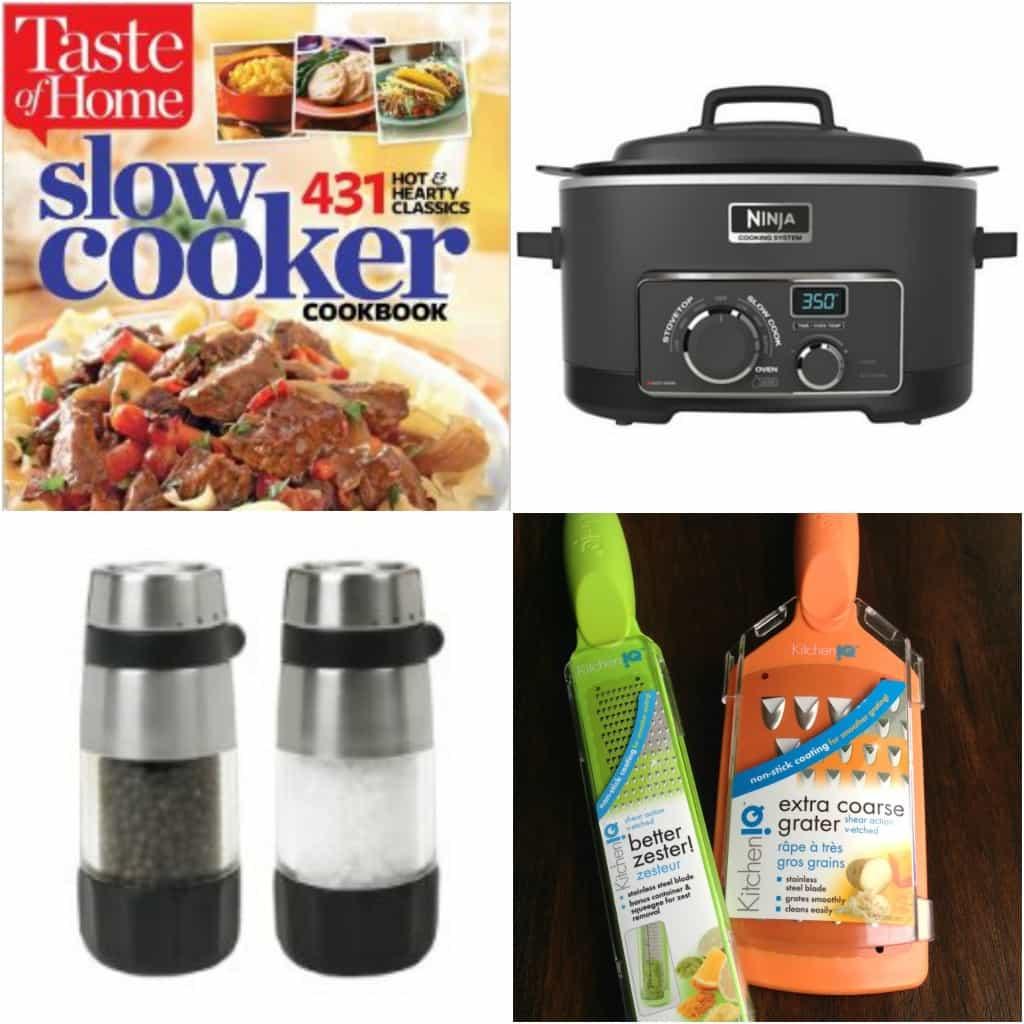 gift guide: Ninja slow cooker, cookbook, grater and zester, salt and Pepper