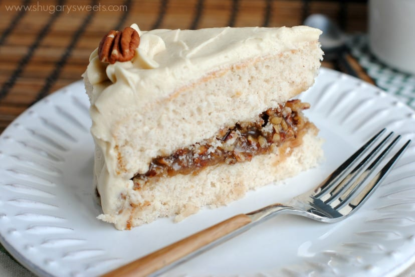 Pecan Pie Cake: double layer spice cake, from scratch, with a pecan ...