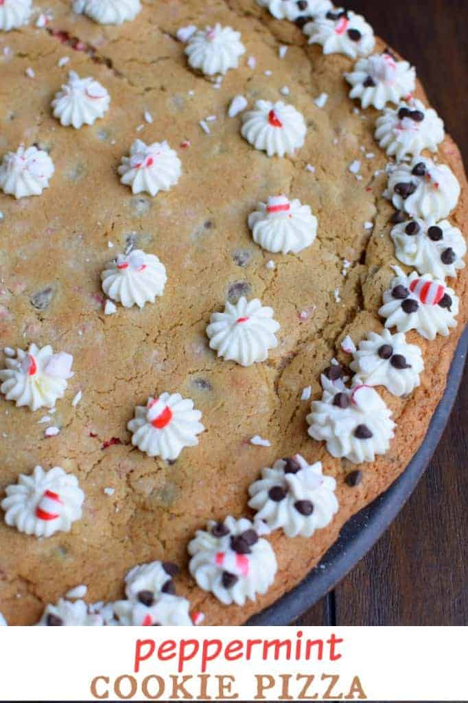 Peppermint Cookie Pizza: enjoy this holiday cookie cake this year! It feeds your family or a crowd!