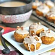 Pumpkin Muffins with Maple Pecan Glaze. Delicious bite sized breakfast treat!