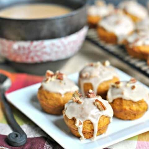 Pumpkin Muffins with Maple Pecan Glaze