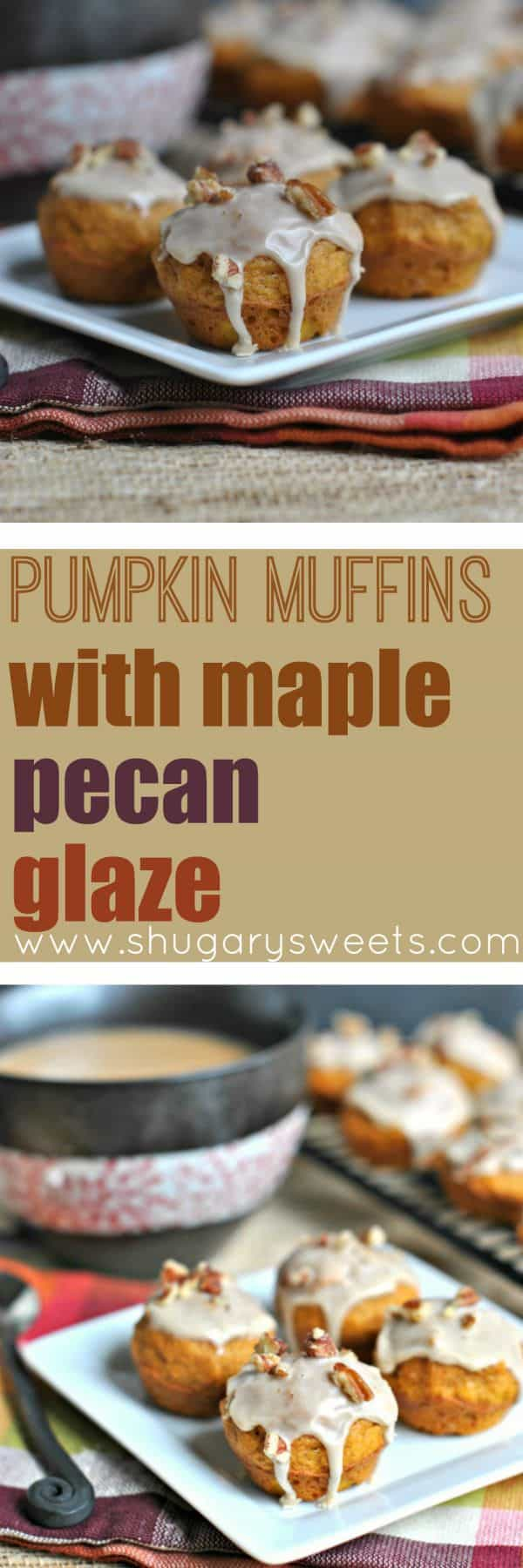 These Pumpkin Muffins with Maple Pecan Glaze are the perfect breakfast! Small bites means you get to eat more, right?