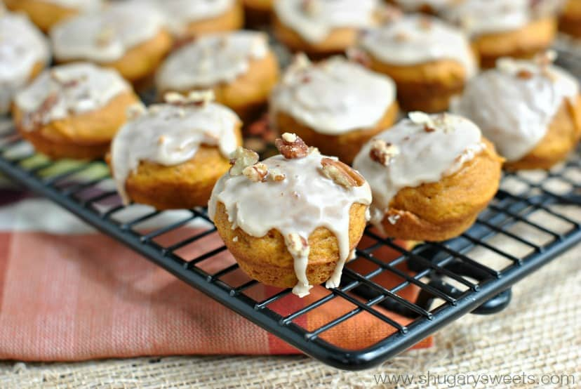 Mini Pumpkin Muffins with a sweet Maple Pecan Glaze. Delicious recipe with a freezer option too!