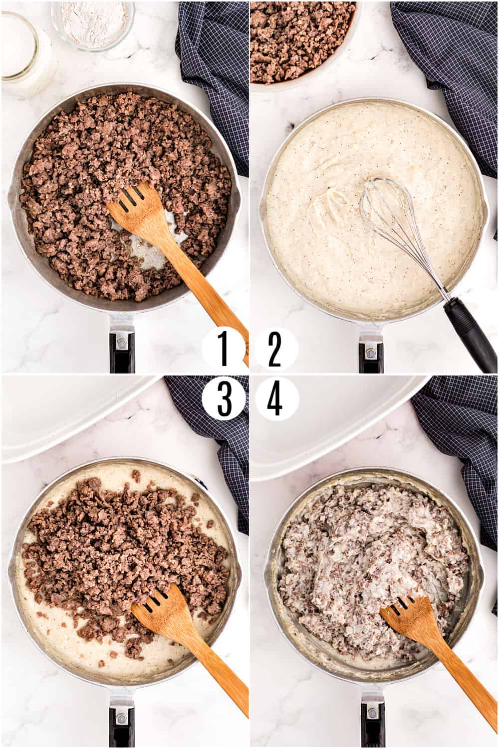 Step by step photos showing how to make sausage gravy.