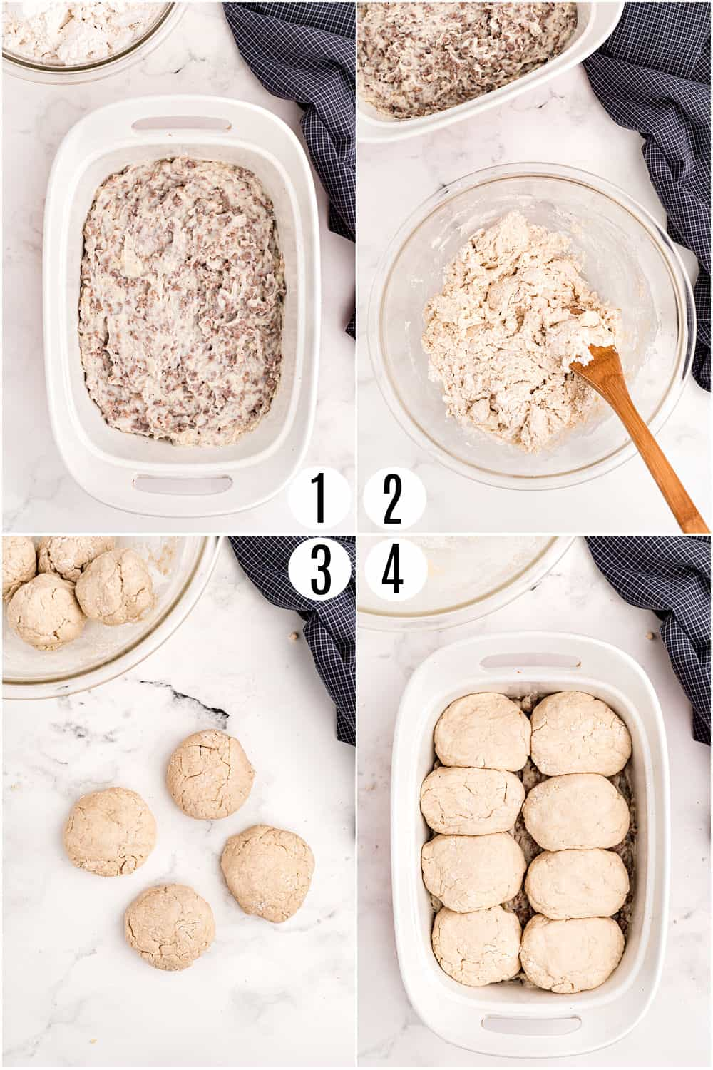 Step by step photos showing how to make biscuits for sausage and gravy casserole.