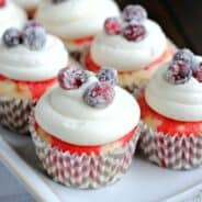 White Chocolate Cranberry Poke Cupcakes: delicious tart cupcakes for a refreshing dessert idea!