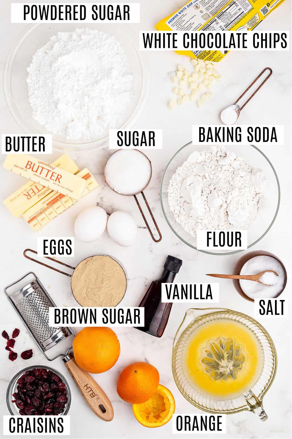 Ingredients needed for cranberry orange cookie bars.