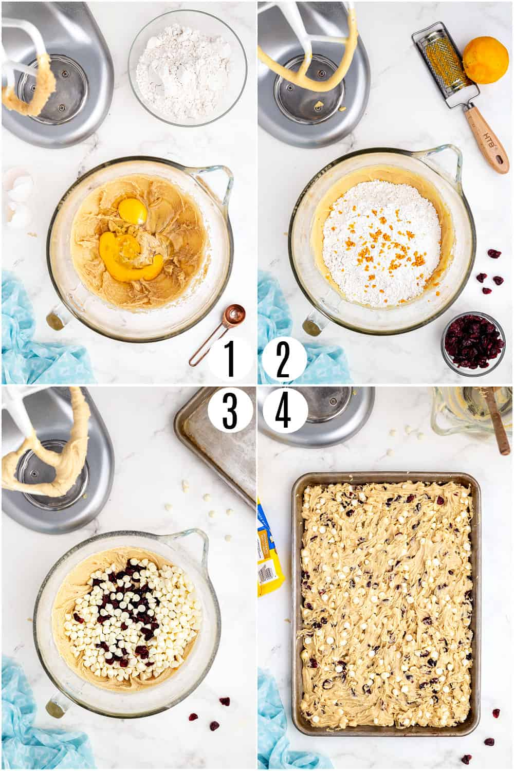 Step by step photos showing how to make cookies bars with cranberries.
