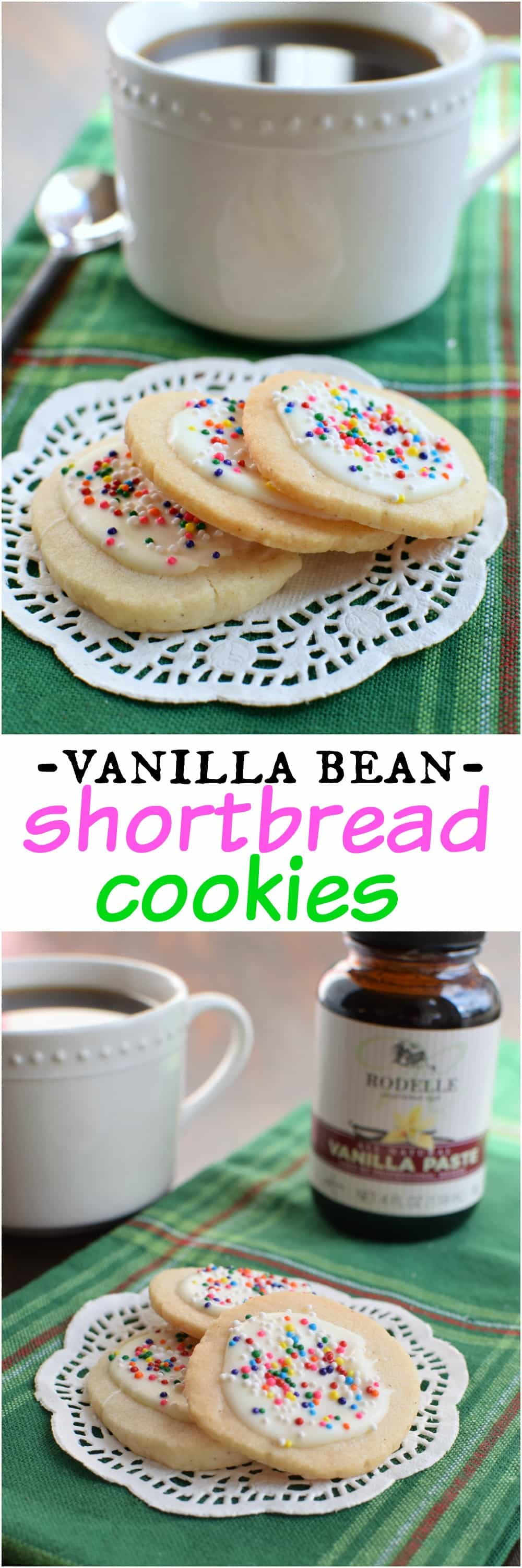 Vanilla Bean Shortbread Cookies with a swirl of white chocolate and ...