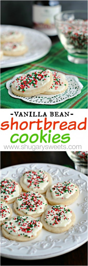 Vanilla Bean Shortbread Cookies: classy holiday cookies decked out for Christmas!