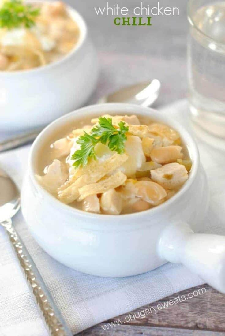 Easy white chicken chili recipe made on the stove top!