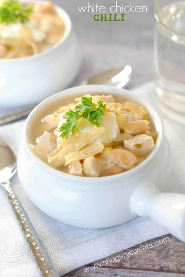White soup bowl filled with white chicken chili.