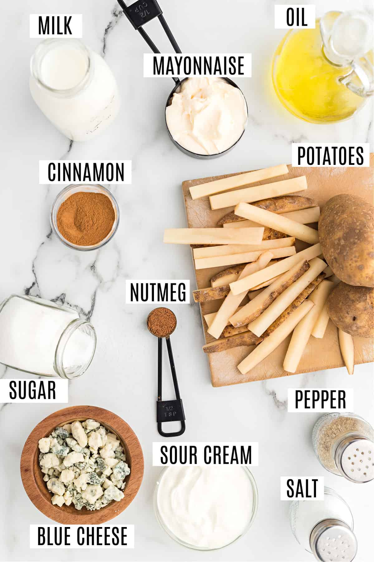 Ingredients needed for baked french fries with homemade bleu cheese dressing.