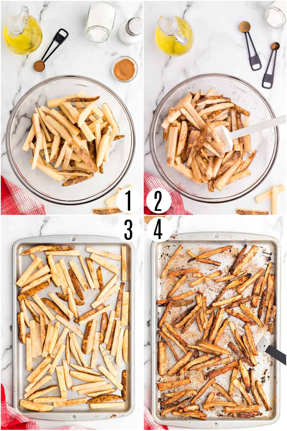 Step by step photos showing how to make baked french fries.