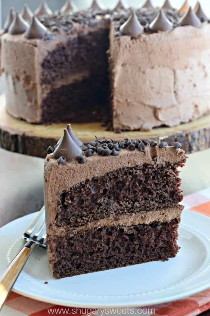 Dark chocolate Cake with chocolate ganache frosting!