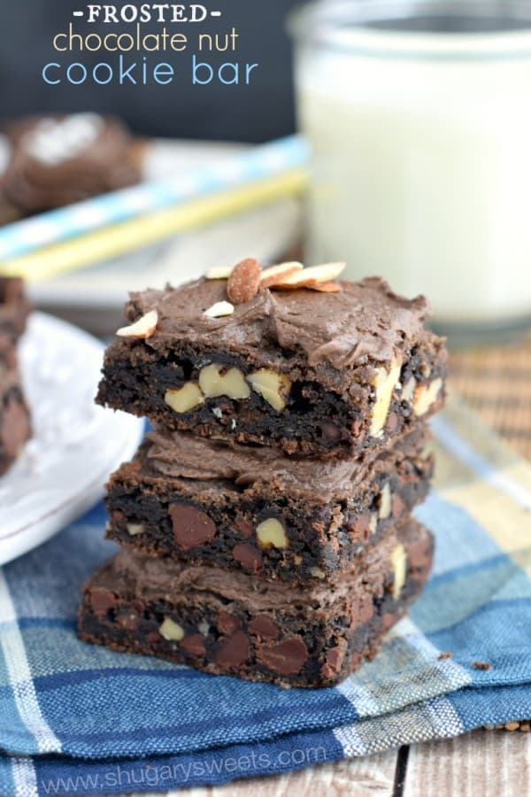 Chocolate Nut Cookie Bar with Chocolate frosting