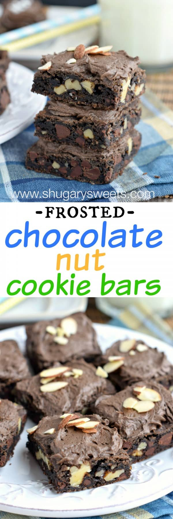 Frosted Chocolate Nut Cookie Bars: chewy chocolate bars filled with walnuts and almonds topped with a fluffy chocolate almond frosting! #thinkfisher