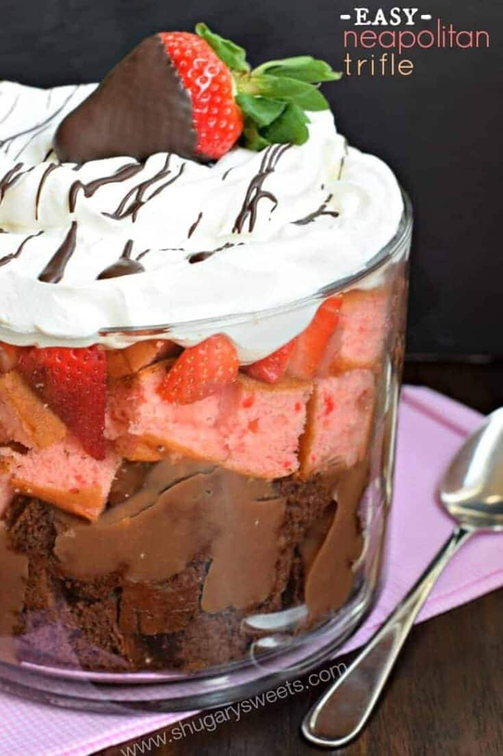 Delicious layered Neapolitan Trifle with chocolate and strawberry cake!