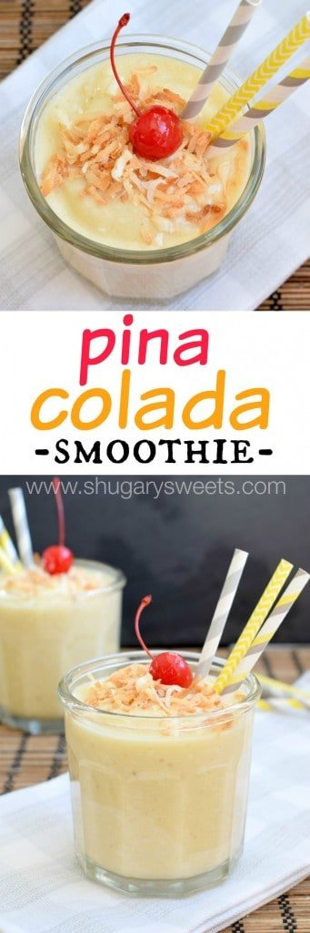 Packed with flavor and protein, these healthy Pina Colada Smoothies are perfect for breakfast or post workouts!