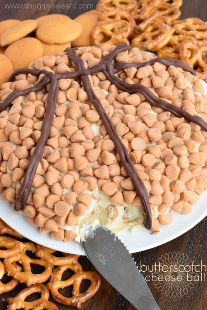 This Butterscotch cheese ball is loaded with flavor and perfect for #marchmadness. Not a fan of basketball? Skip the chocolate lines and enjoy the treat!