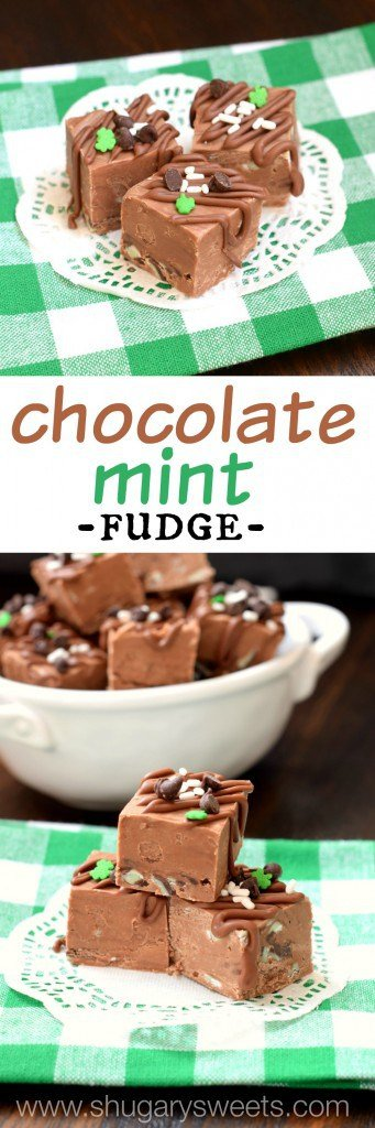 Chocolate Andes Mint Fudge is an easy, delicious, no candy thermometer needed, recipe!