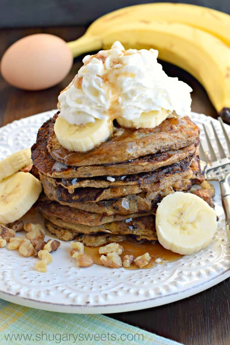 Healthy Banana Nut Pancakes - Shugary Sweets