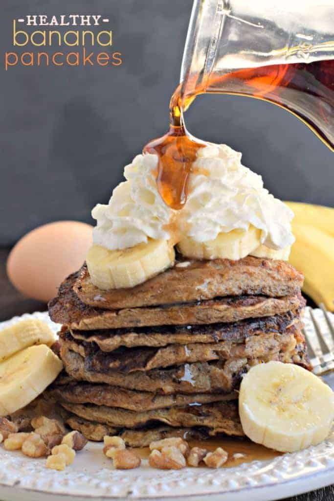 Healthy Banana Pancakes with 4 simple ingredients (no flour)! # ...