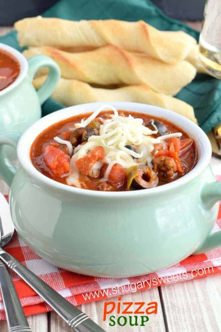 Easy Pizza Soup recipe served in the slow cooker!