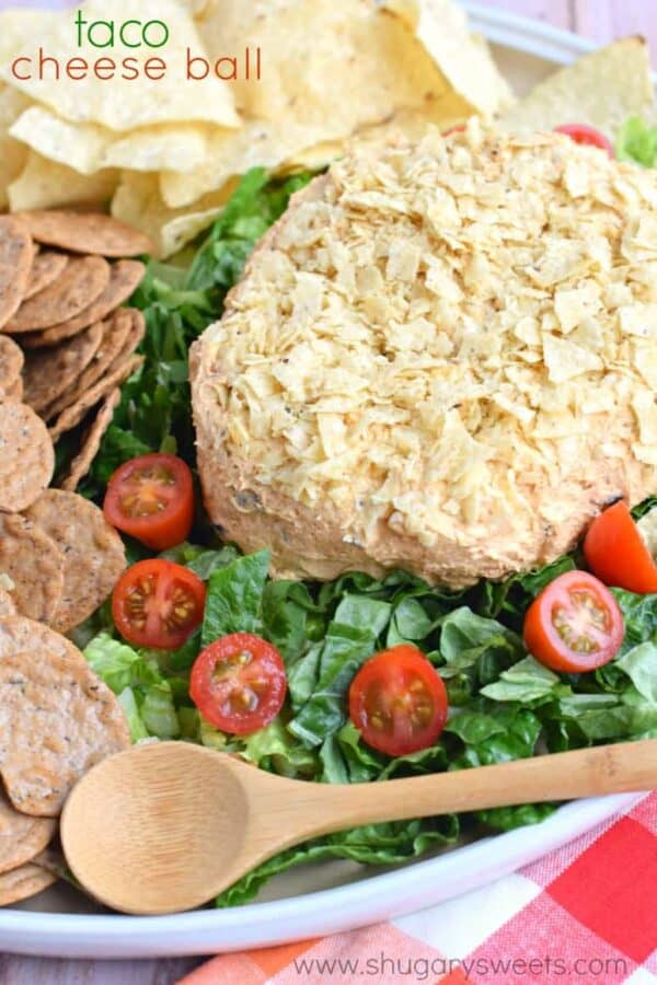 Easy Taco Cheese ball recipe is perfect for game day or potlucks!