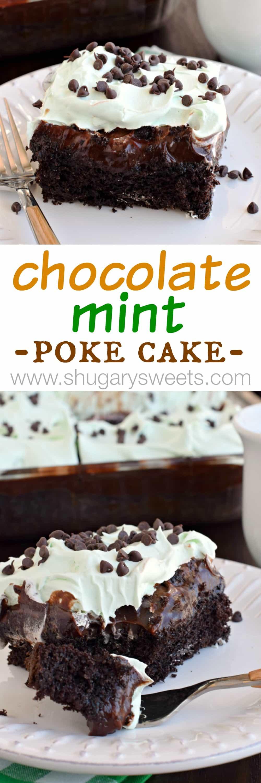 Chocolate Grasshopper Poke Cake