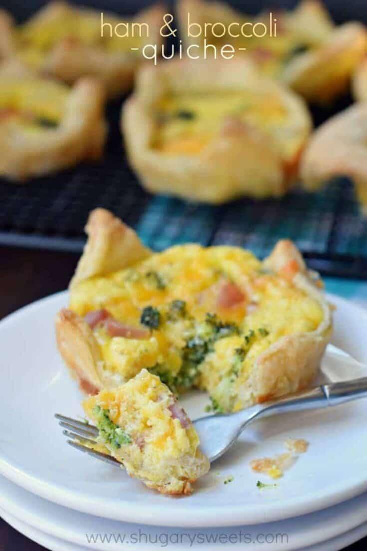 Delicious make ahead breakfast recipe. Broccoli Ham Quiche.