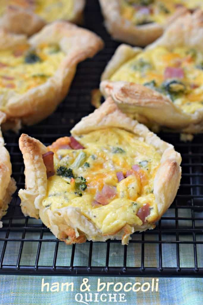 Broccoli Ham Quiche: make these mini or full size using puff pastry and leftover ham #pinkpork