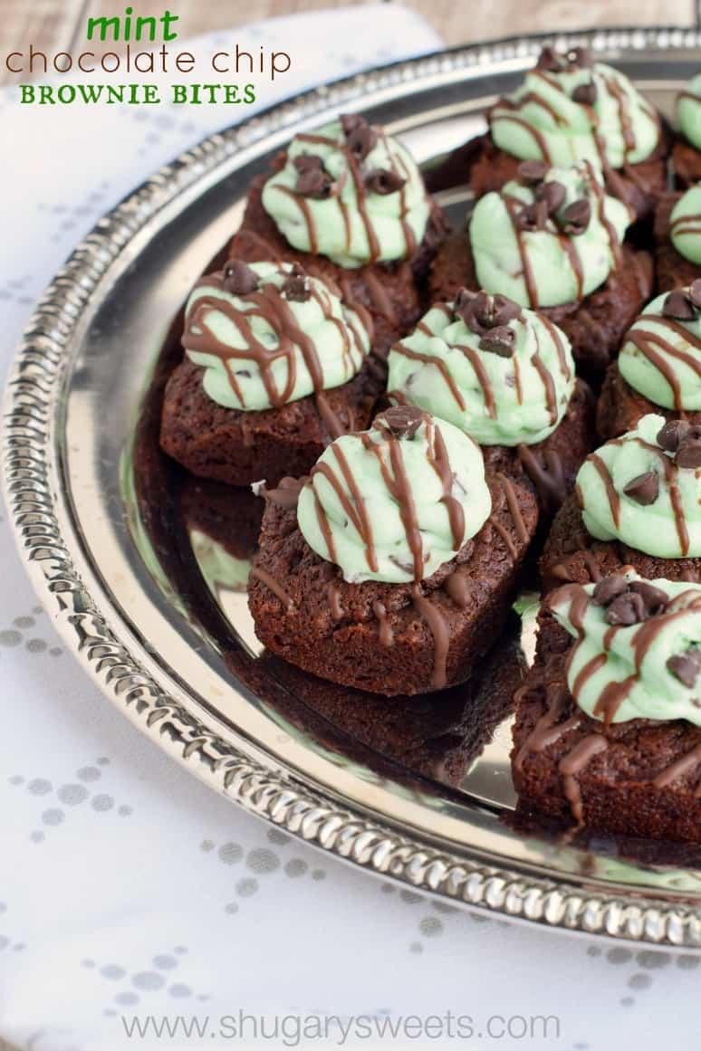 Mint Chocolate Chip Brownie Bites - Shugary Sweets